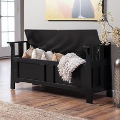 Black Storage Bench Hall Entryway Chest Seat Bedroom End Of Bed Lift Top  Wood