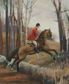 The Bank  16 x 20  Oil on linen  $1,750      It's difficult to capture that one moment when a horse is launching himself into the air—horse and rider posed forever in stillness, when the real event lasted a split second. This is one of my few winter paintings—no leaves, no gold, only frosty browns in a late afternoon. I like it because I think it has a sense of mystery—is it the beginning of the hunt, or near the end?