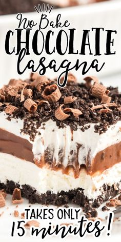 This cool, creamy chocolate lasagna recipe is the ultimate homemade dessert -- sweet and delicious, you'll be in love! The chocolate Oreo cookie crust creates the perfect base for the sweet layers of delicious pudding, cream cheese, and Cool Whip that come next. Quick Easy Desserts, Delicious Desserts, Dessert Recipes, Quick Dessert, Parfait Recipes, Dessert Bars, Yummy Recipes, Cake Recipes, Chocolate Pudding Desserts