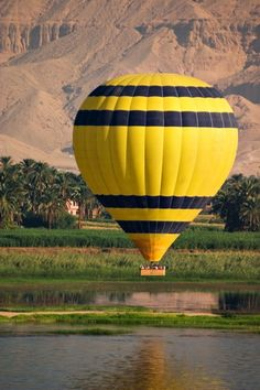 A hot air balloon over the River Nile at Luxor.
