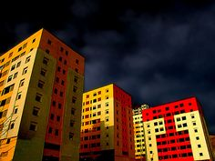JUST COLORFUL BUILDINGS, BUT  CAN'T BREATH IN! by HORIZON, via Flickr