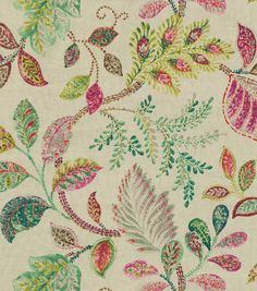 Create lovely projects with this elegant Home Décor Fabric. Flowing graceful floral design with vibrant colors. This design will easily complement any home décor theme you have at home.  Content: 70%