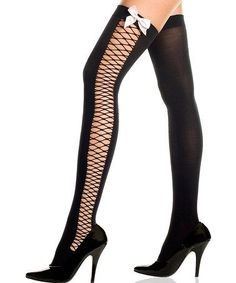 61c2813a14b Take a look at this Black Opaque Diamond Bow Thigh-High Stockings by Music  Legs