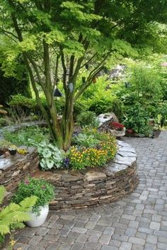 Stone, raised bed....nice way to accent a tree. . . . and a place to sit and catch your breath