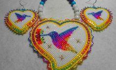 A hummingbird set I finished this morning.. #beadwork #nativeamericanbeadwork #hummingbird