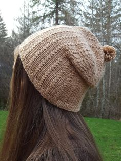 grass-stitch beanie  slouchy  pdf knitting by HappyInDoleValley