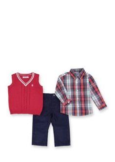 IZOD  Sweater Vest Top and Pants Set Toddler Boys
