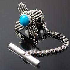 New Mexico Zia   Turquoise Tie Tack  www.silversunalbuquerque.com