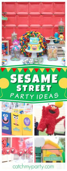 Check out this fun Sesame Street First birthday party! The birthday cake is awesome!! See more party ideas and share yours at CatchMyParty.com #sesamestreet #1stbirthday