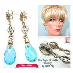 New SCOTT KAY 925 Silver 18K Gold Blue Topaz Briolette Dangle Earrings **VIDEO** #ScottKay #DropDangle