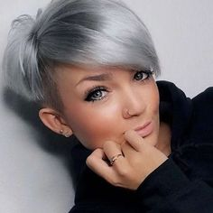 I absolutely love this cut (which I have) and color! (which I don't have) Short Hairstyle 2018