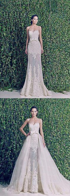 Two-in-one wedding dress,Lace wedding dress,Detachable Bridal Gowns,2016 wedding dresses,Zuhair Murad wedding dress