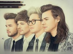 one direction drawings One Direction Fan Art, One Direction Drawings, One Direction Pictures, Harry Styles Drawing, Fanart, Best Song Ever, First Love, My Love, Perfect Boy
