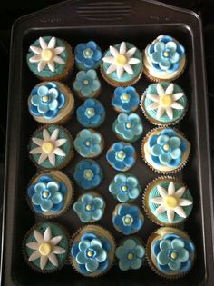"""Something Blue"" party cupcakes."