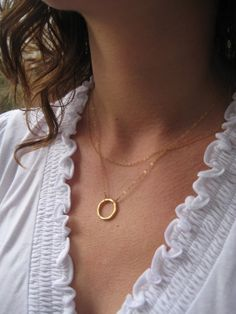 Gold Circle Necklace Gold Layered Necklace by JewelryMadebyMaggie, $40.00