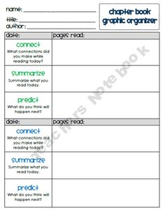 Book Graphic Organizers