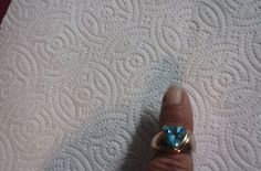 10 K CI Gold Blue Topaz Ring