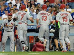 3 run homer by Holliday tops off an already amazing 7th inning. Cards ended up scoring 8 runs in the top of the 7th to take the lead 10-6. In true Cardinals fashion, it came down to the very last strike. Yasiel Puig struck out to end the game with the Dodgers' tying run at third. Cardinals won 10-9.