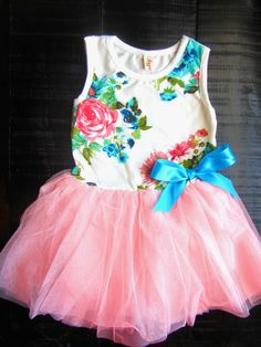 Baby Girl Clothes - Girls Dresses - Tutu Dress - Pink Floral TuTu Dress - Girls First Birthday Oufit -Girls First Easter on Etsy, $19.99
