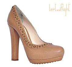 Decolletè in caramel, 12 cm heel, double platform, rubber sole, brass studs.