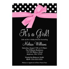 A stylish pink and black baby shower invitation. Featuring polka dots and a pink bow graphic. Perfect for a little girl baby shower. Trendy and cute. Easily personalize for your party! Designs are flat printed illustrations/graphics - NOT ACTUAL RIBBON. #timelesstreasure
