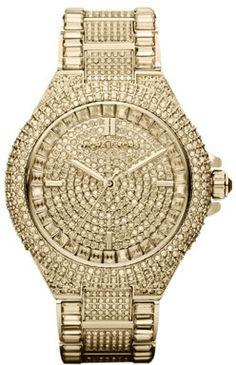 Michael Kors Mid-Size Golden Stainless Steel Camille Three-Hand Glitz Watch