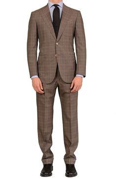 Sartoria PARTENOPEA For PATRICK HELLMANN Brown POW Wool Super 120's Suit NEW