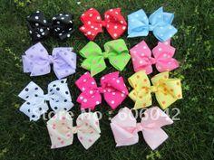 "50pcs/lot, 4.3""-4.5''baby ribbon polka dot  bows with clip,grosgrain hairclips,Bow Dots,Girls' hair accessories,Via china post on AliExpress.com. $29.88"