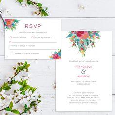 Printable Wedding Invitation/ RSVP/ Save the by GreybeePrintables #floral #colourfulwedding #greybeeprintables