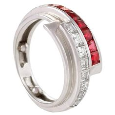 Raymond Yard Retro Diamond, Ruby and Platinum Ribbon Ring | From a unique collection of vintage wedding rings at https://www.1stdibs.com/jewelry/rings/wedding-rings/