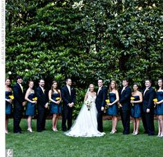 The bridesmaids wore strapless dresses in a rich shade of blue while the guys coordinated perfectly in their navy suits paired with yellow t...