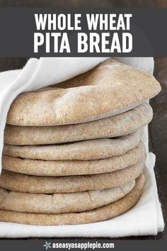 Learn how to make Homemade Whole Wheat Pita Bread - Super easy to make soft chewy and so good Serve it with hummus or fill it up with whatever you prefer bread pita homemade baking homemadebread easyrecipe Whole Wheat Pita Bread, Whole Wheat Tortillas, Food Items, Naan, Cooking Recipes, Ham Recipes, Sausage Recipes, Steak Recipes, Turkey Recipes