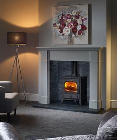 Excellent Images Fireplace Hearth slate Popular Winterfold Mantel in Blenheim Grey with a Sigma 490 Multi-Fuel Stove inside a Riven Slate Chamber. Wood Burner Fireplace, Cosy Fireplace, Wooden Fireplace, Victorian Fireplace, Fireplace Surrounds, Fireplace Design, Fireplace Ideas, Fireplace Remodel, Fireplace Wall