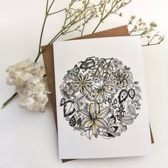 Circle of Bugs and Flowers Art Blank Greeting by GracemereWoods