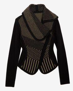 No pattern: Ohne Titel Knit Sweater Jacket in Black (olive/army) Wrap Sweater, Sweater Jacket, Knit Jacket, Moto Jacket, Love Fashion, Womens Fashion, Mode Inspiration, Swagg, Blazers