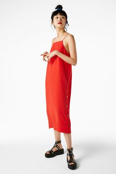 Monki Image 2 of Long studded dress in Red Yellowish