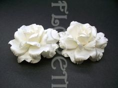 Couture Whtie Rose Flower Wedding Shoe Accessory Bridal Clips Set of 2 | Floreti - Wedding on ArtFire. $41.90