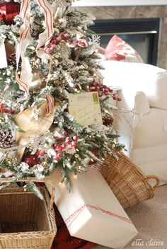 Flocked tree trend!!! Classic red and white accents
