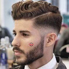 Wavy Comb Over Fade + Hard Part + Beard