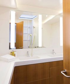 The Triple Fusion Lighted Mirror by Electric Mirror embodies modern innovation, clean lines, and efficient natural lighting that pairs well with a double vanity. The natural light color is ideal for makeup application. Available with LED or fluorescent lamping. Fluorescent: Three 39 watt, 120 volt T5 Fluorescent bulbs are included. LED: 75 watt 120 volt LED modules are included. Available in four sizes. Small: 48 inch width x 40 inch height. Medium: 60 inch width x 40 inch height. Large: 72…