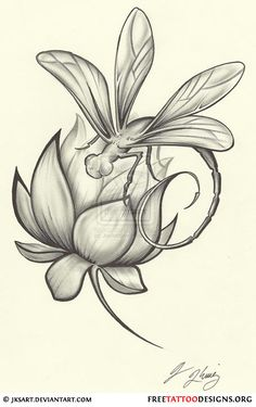 Dragonfly and flower tattoo design