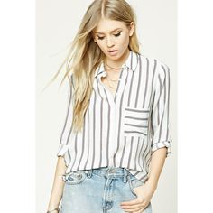 bb253d353c8 Forever21 Striped High-Low Shirt ( 20) ❤ liked on Polyvore featuring tops