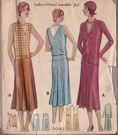 McCall 6049; ©1929; Ladies' & Misses' Ensemble. Jacket, Dress with sleeves and sleeveless