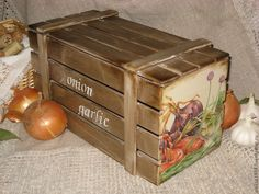 """Купить Ящик для овощей """" Лук и чеснок"""" - коричневый, Декупаж, ящик для хранения овощей"""