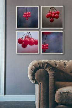 Berry | Garden Decor | Tree Art | Wall Art | Nature Decor | Spring Decor | Fine Art Photography | Minimalist Print | 5x5 | Forest Print | Wall Art by Martyna Trinkuniene { Follow me on Instagram @martyna_trinkuniene }