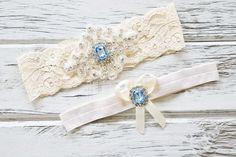 Blue Topaz Ivory White Lace Bridal Garter Belt Wedding Set Keepsake Toss Shower Gift Rustic Beach Spring by ContessaGarters on Etsy
