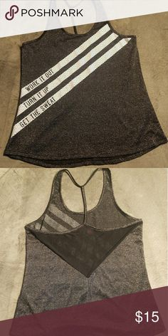 Material Girl athletic shirt XL NWT black and silver work out shirt Material Girl Tops Muscle Tees