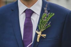 Lavender buttonhole captured by This Modern Love