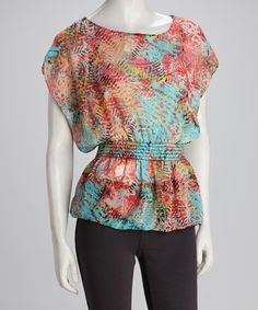 Take a look at this Pink & Blue Brush-Stroke Cape-Sleeve Top by Analogy on #zulily today!
