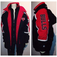 90s CHICAGO BULLS STARTER jacket black and red  by LittleLoco, $75.00